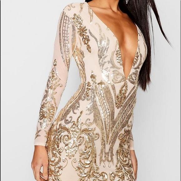Sequin Mesh Bodycon Dress (Gold) (PLUS SIZE!!) NWT